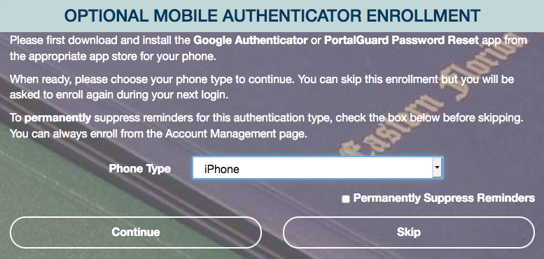 optional mobile authentication screen