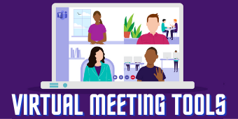 Virtual Meeting Tools and computer screen graphic