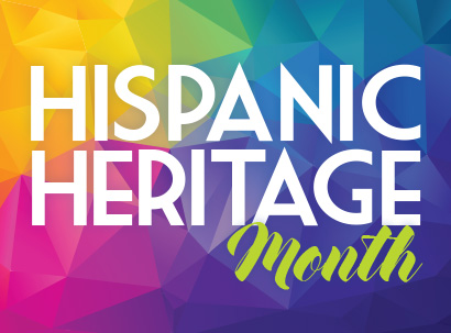 Hispanic Heritage Month over colorful graphics