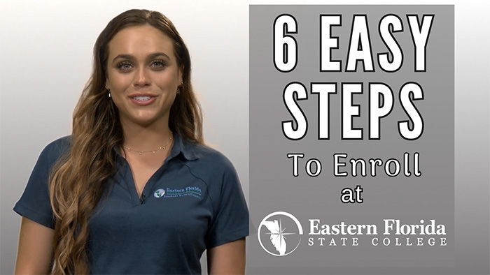 Enrolling in 6 Easy Steps graphic and female announcer