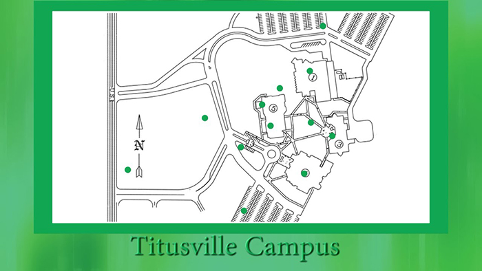 Titusville campus map over green background