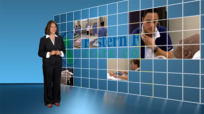 woman at blue screen with health and nursing images